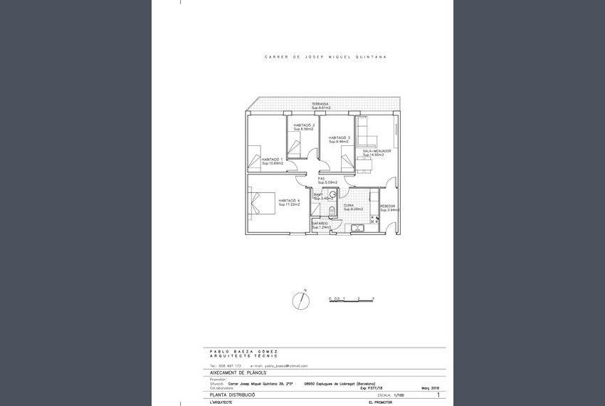 1.0. Plànol Distribució - Carrer Josep Miquel Quintana 39, 2º5ª (Copiar)